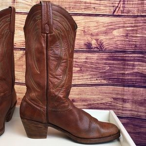 Frye Shoes - Frye Brown Leather Round Point Toe Cowboy Boot